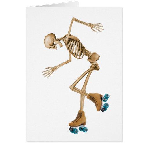 Skelett auf Rollen-Skaten Grußkarte