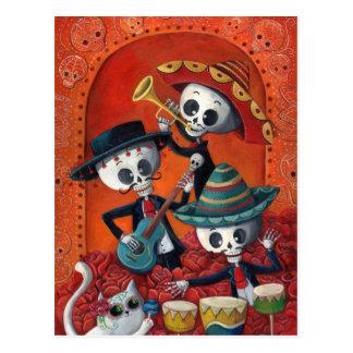 Skelett-Band Dia de Muertos Musical Postkarten