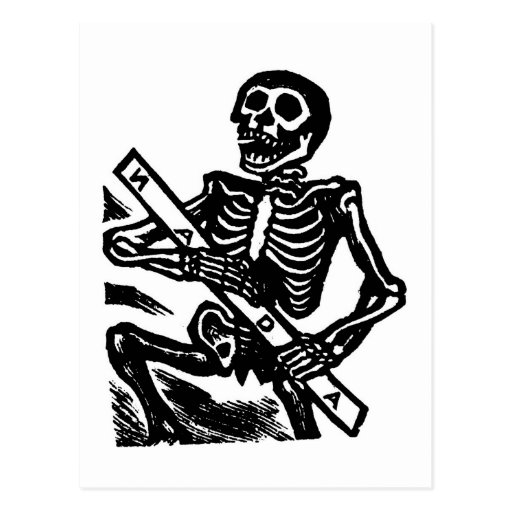 Skelett, circa Mexiko 1951 Postkarte
