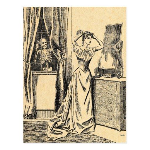 Skelett, das auf viktorianischer Dame Vintage Goth Postkarten