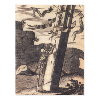 Skelett das über Turm circa 1792 drückt Postkarte