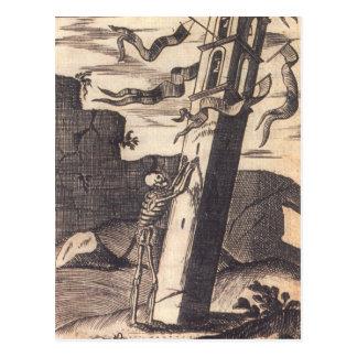 Skelett, das über Turm circa 1792 drückt Postkarten