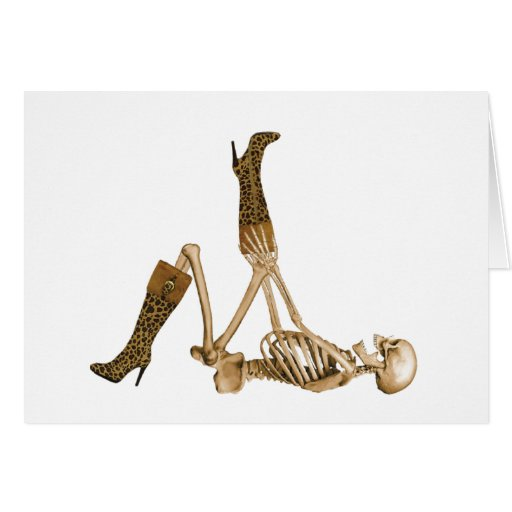 Skelett in den Leopard-Stiefeln Karten