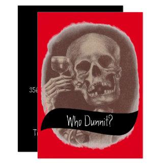 Skelett wer Dunnit? Geheimnis-Wein-Einladungen Karte