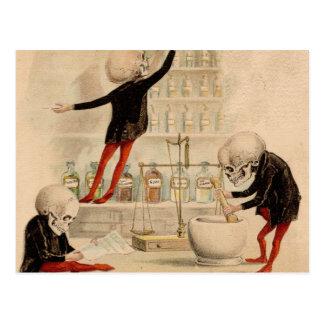Skelettartige Apotheke Postkarte
