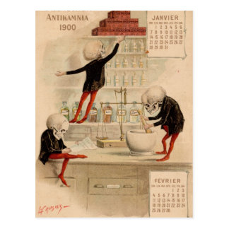 Skelettartige Apotheke Postkarten