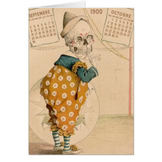 Skelettartiger Clown Karte