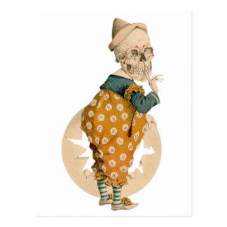 Skelettartiger Clown Postkarte