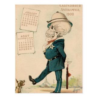 Skelettartiger Offizier Postkarte