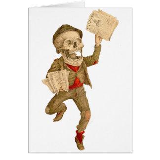 Skelettartiger Paperboy Karte