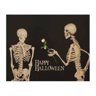 Skelette lustiges romantisches glückliches holzdruck