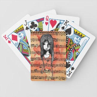 Sketchbook-Skizze-Schmutz-Mädchen Bicycle Spielkarten