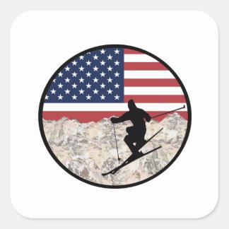 Ski Amerika Quadratischer Aufkleber