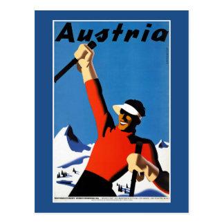 Ski fahren im Vintagen Reise-Plakat Österreichs Postkarten