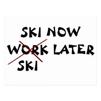 Ski fahren jetzt später Ski Postkarte