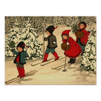 Ski fahrende Kinder, eine Vintage Winterszene Plakatdrucke