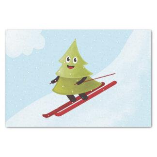 Ski fahrender glücklicher Kiefer-Winter Seidenpapier