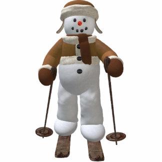 Ski fahrender Vintager Snowman Fotoskulptur Ornament