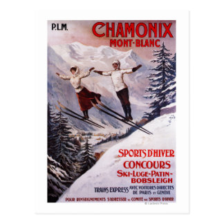Ski fahrendes förderndes Plakat Postkarte