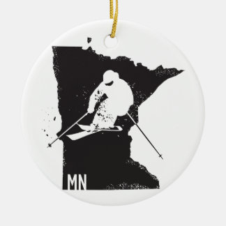 Ski Minnesota Rundes Keramik Ornament