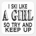 Ski mögen ein Mädchen Quadratischer Aufkleber