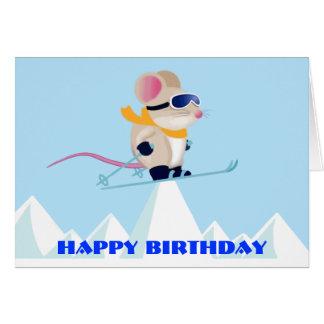 Ski-Patrouillen-Maus im Alpen-Geburtstag Karte