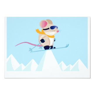 Ski-Patrouillen-Maus in den Alpen 12,7 X 17,8 Cm Einladungskarte