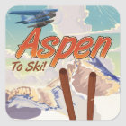 Ski-Reiseplakat Aspen USA Vintages Quadratischer Aufkleber