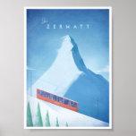 Ski Zermatt Vintages Reise-Plakat Poster
