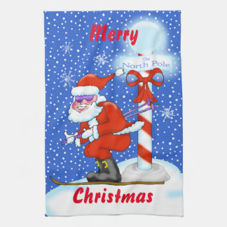Skifahren-Sankt-WeihnachtsGeschirrtuch Küchentuch