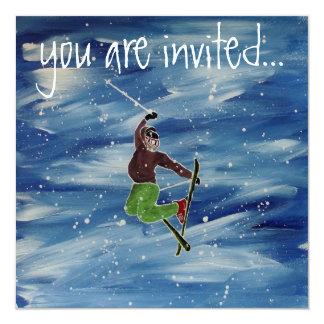 Skifahreneinladung Quadratische 13,3 Cm Einladungskarte