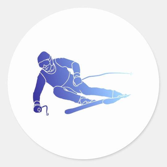Skifahrer skier runder aufkleber
