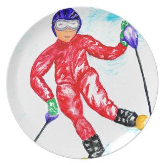 Skifahrer-Sport-Illustration Melaminteller