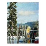 Skis und Snowboards auf die Gebirgsoberseite Postkarte