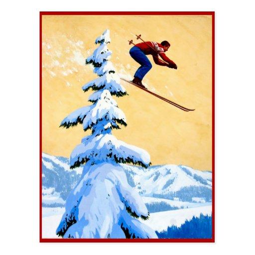 Skispringen in die Berge Postkarte