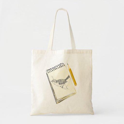 Skizze-Auflage-Vogel Leinentasche