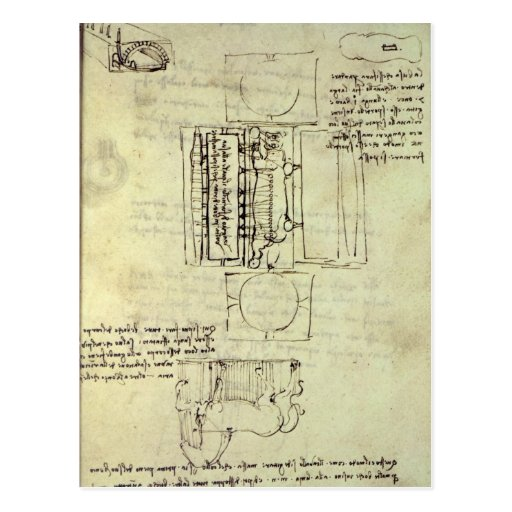 Skizze der Gießgrube für das Sforza Pferd Postkarte