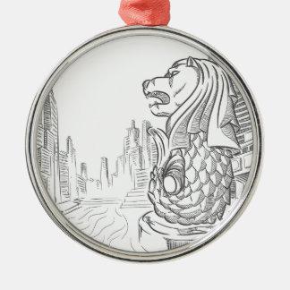 Skizze der Singapur-Tourismus-Sehenswürdigkeit - Silbernes Ornament