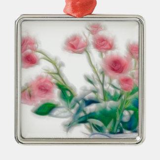 Skizze des Rosen-Blumenstraußes Quadratisches Silberfarbenes Ornament