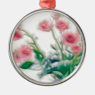 Skizze des Rosen-Blumenstraußes Silbernes Ornament