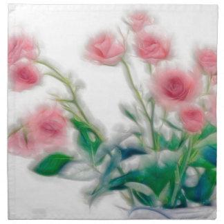 Skizze des Rosen-Blumenstraußes Stoffserviette