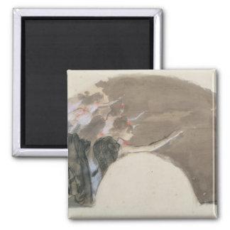 Skizze Edgar Degass | für einen Fan, c.1879 Quadratischer Magnet