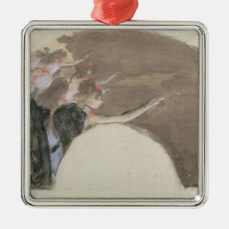 Skizze Edgar Degass   für einen Fan, c.1879 Quadratisches Silberfarbenes Ornament