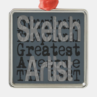 Skizze-Künstler Extraordinaire Quadratisches Silberfarbenes Ornament