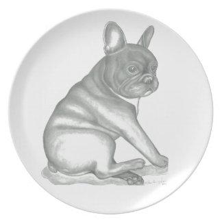 Skizzeplatte der französischen Bulldogge Teller