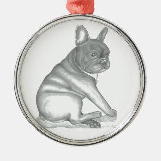 Skizzeverzierung der französischen Bulldogge Silbernes Ornament