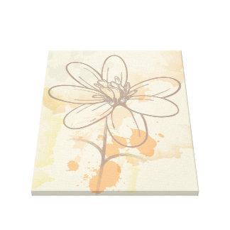 Skizzierte Blume auf Watercolorfarbe splats Galerie Gefaltete Leinwand