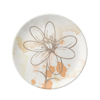 Skizzierte Blume auf Watercolorfarbe splats Teller Aus Porzellan