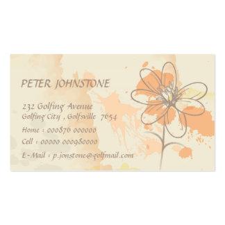 Skizzierte Blume auf Watercolorfarbe splats Visitenkartenvorlage