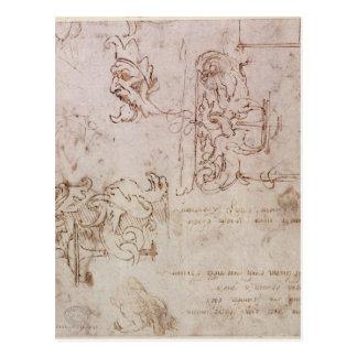Skizzierte Entwürfe für Möbel und Dekorationen Postkarte